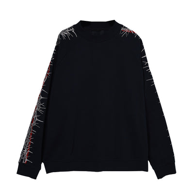 embroidery thorns printed long-sleeved sweater