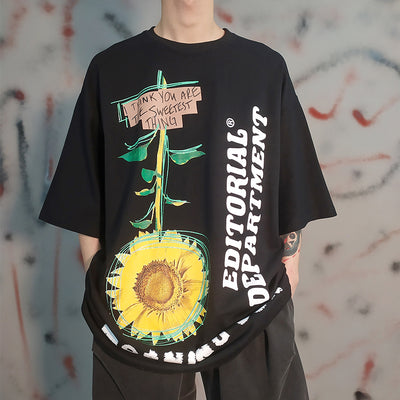 small daisy print loose oversize short-sleeved T-shirt