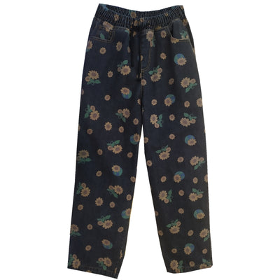 Daisy sunflower print washed loose fit elastic waist jeans in 2 colors