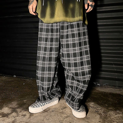 Loose Wide Legs Check Casual Pants