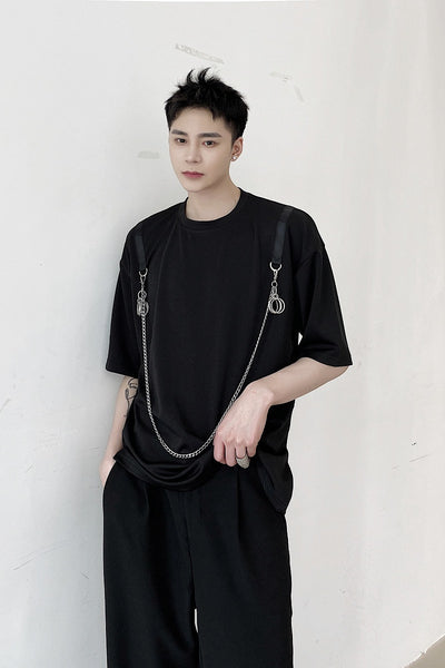 Summer short-sleeved T-shirt in black