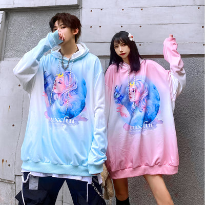 cartoon printed two-dimensional drop sleeves hooded sweater