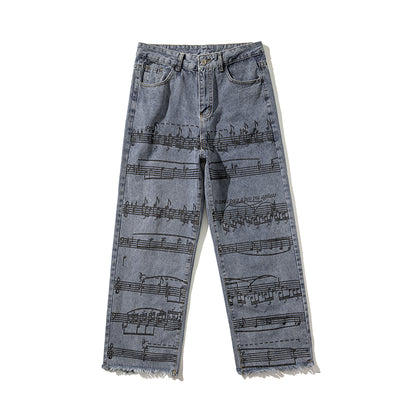 loose straight fit musical chords jean pants note printing jeans