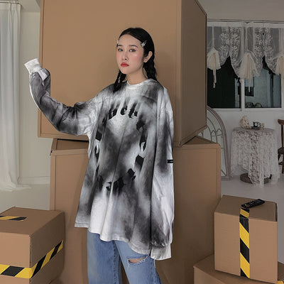 tie-dye autumn loose casual long-sleeved bottoming t-shirt