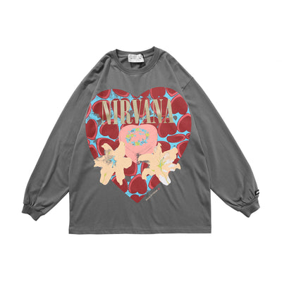 long-sleeved love printed oversize T-shirt