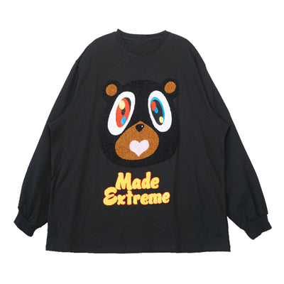 red bear outfit loose long-sleeved T-shirt
