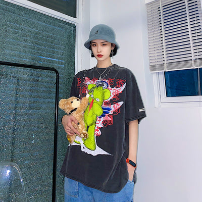 Monster graffiti cartoon t-shirt in 2 colors