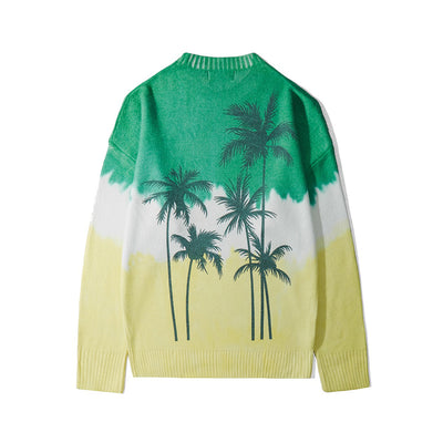 Coconut palm print Print casual Oversize fit gradient tie-dye Sweater