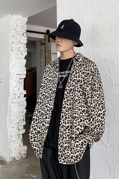 Long sleeve leopard print loose  fit animal graphic shirt