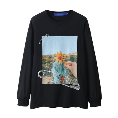 portrait printed long-sleeve casual sweater