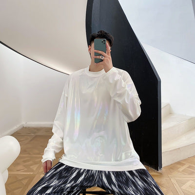 long-sleeved loose gradient color T-shirt