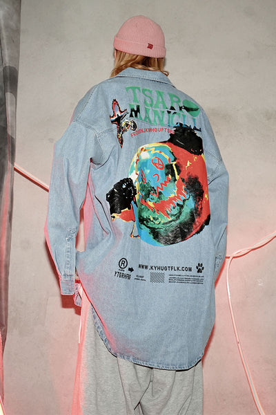 comics printed denim loose shirt