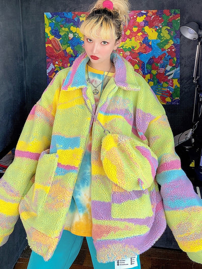 Fantasy Tie-dye Embroidered  Loose fit fake fur rainbow fleece  Girl Jacket