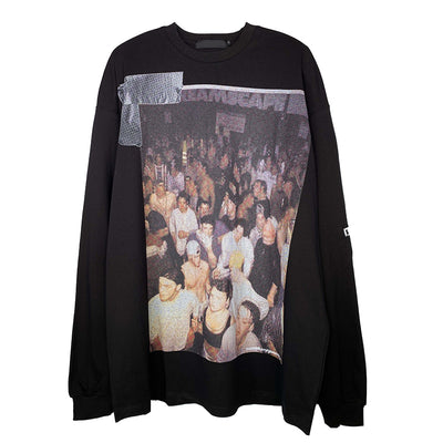 rave party people printed round neck long-sleeved thin sweater