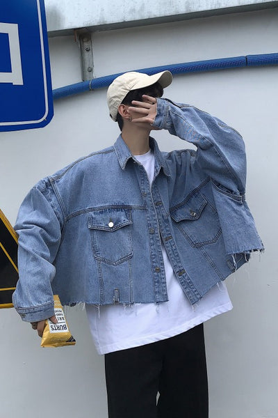 Single breasted loose fit cropped length Korean skater raw finish denim jacket