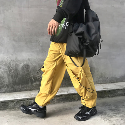 Custom made Loose Wide Leg casual Pants beam adjustable cargo pocket overalls in yellow