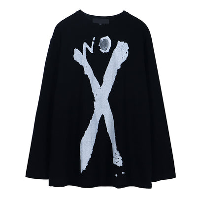 graffiti painted cross long sleeve loose round neck thin sweater