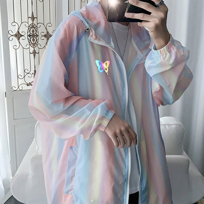 sunscreen summer rainbow color butterfly printed hooded jacket