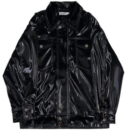 Loose fit PU leather rubbery feel jacket