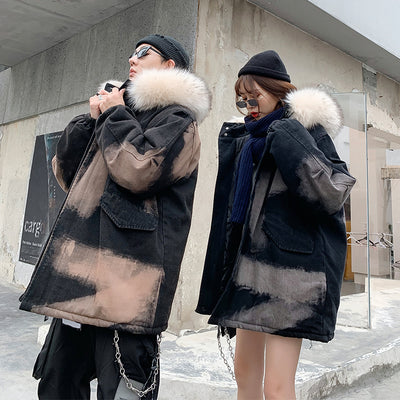 Gradient fake wool collar gradient bleached parka jacket in 2 colors