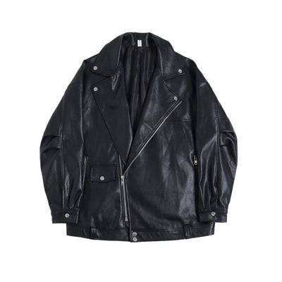 PU leather retro fashion inspired loose fit biker jacket