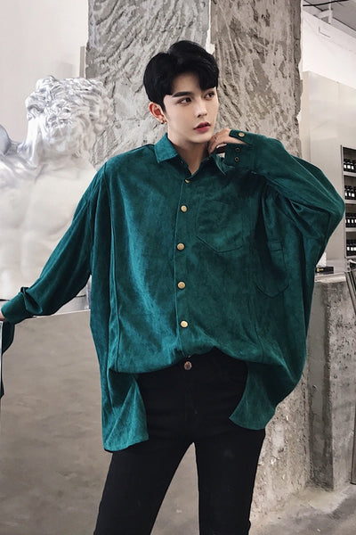 retro thickened loose large size long-sleeved Men shirt