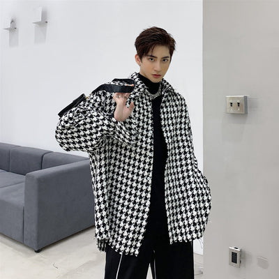 woven fabric small dogstooth loose fit thin shirt jacket