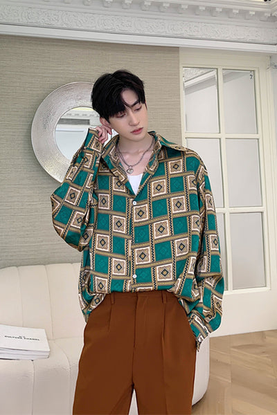 Square collar satin feel long sleeved chess check pattern shirt