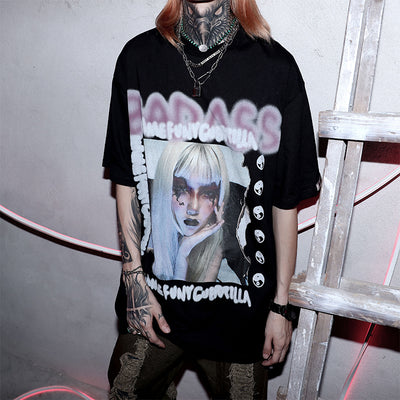 oversize anime hand-painted T-shirt