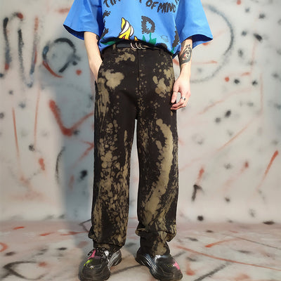 Mixed color tie-dyed loose fit gradient casual denim trousers