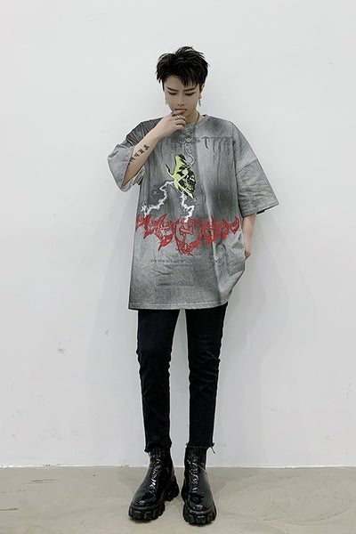 dark washed out creepy cartoon printing loose fit short-sleeved T-shirt