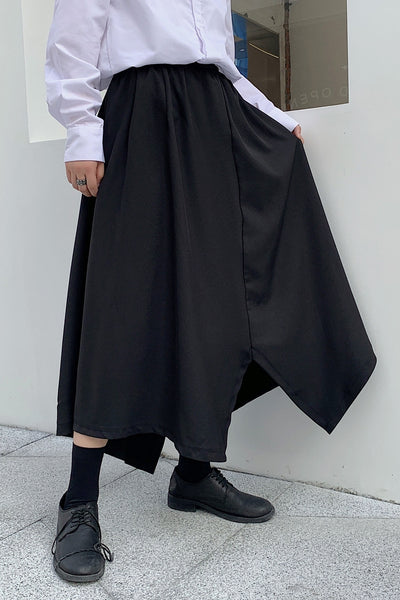Custom made low waist Loose fit cropped pants skirt in black