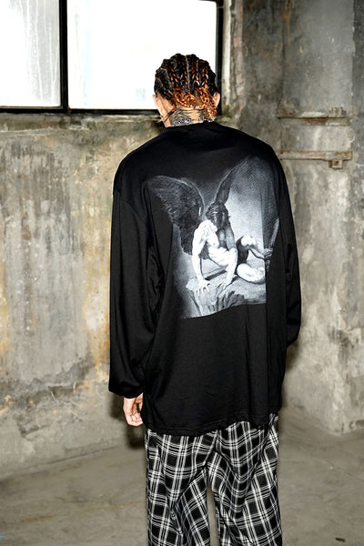 round neck long-sleeved autumn dark print T-shirt