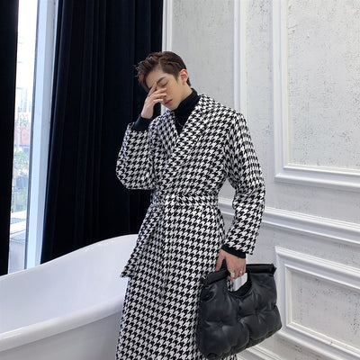 Houndstooth high fashion long Men woolen trench coat