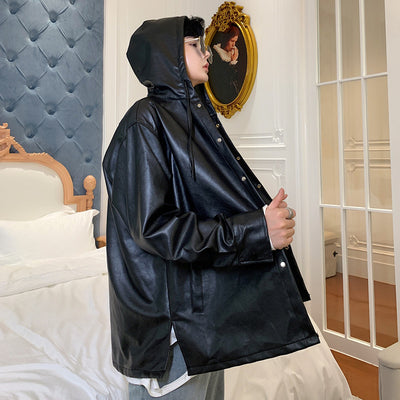 Hooded PU fake leather shirt jacket in black
