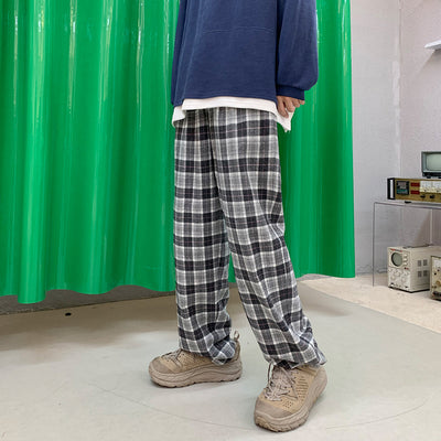beam adjustable plaid check casual pants in 3 colors