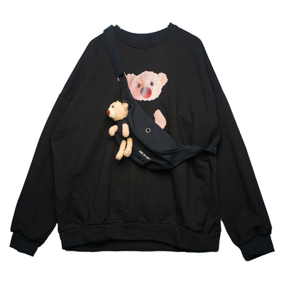 bear printed round neck loose long-sleeved T-shirt