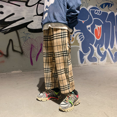 Plaid woolen check Korean skater casual ankle pants in 2 colors