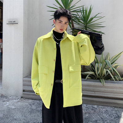 Bright yellow structured casual shirt jacket