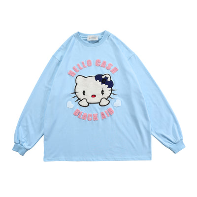 long-sleeved kitty cat plush printed t-shirt