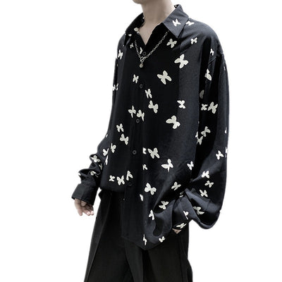 butterfly printed casual drape shirt