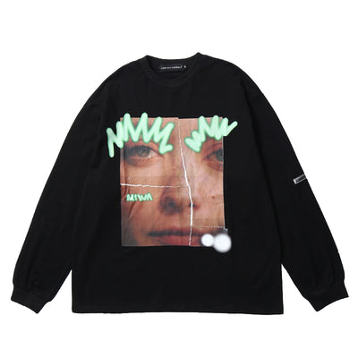 Cotton portrait printed long-sleeved sweater