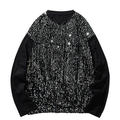 Sequin stitching regular fit party sweatshirt in 2 colors