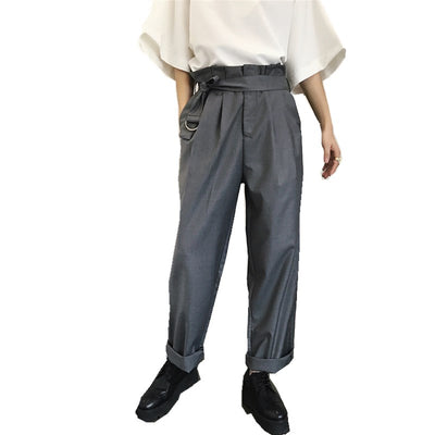unusual design pleated high waist loose fit smart trousers  in 2 colors