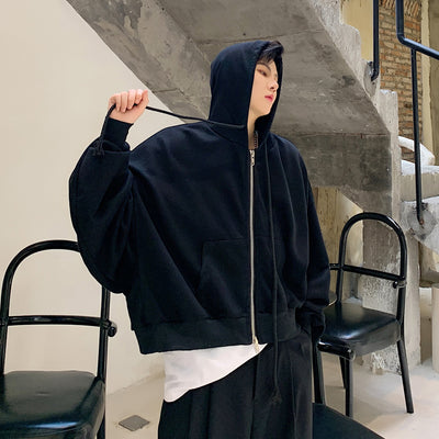oversize fit loose bat wing sleeve cropped hoodie