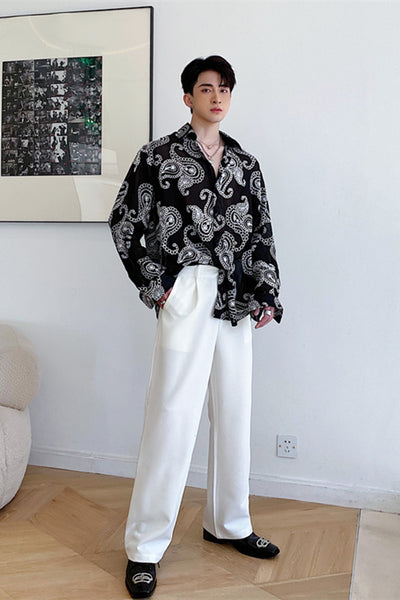 Summer embroidered long-sleeved shirt in black