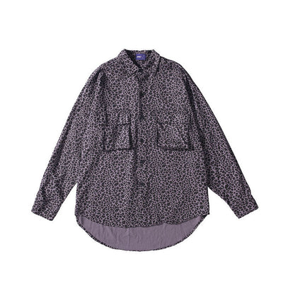 purple leopard print long sleeved denim shirt