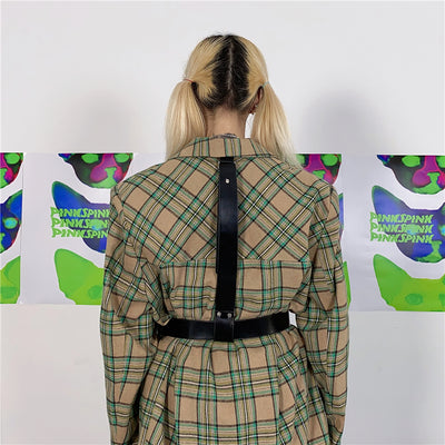 Check pattern suit with belt pendant