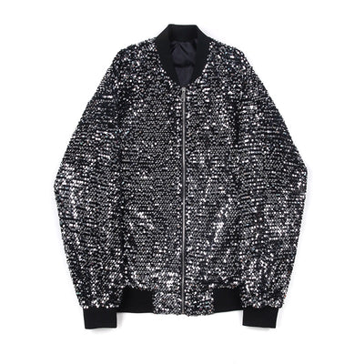Glitter sequin stand collar long sleeve loose fit MA1 thin jacket