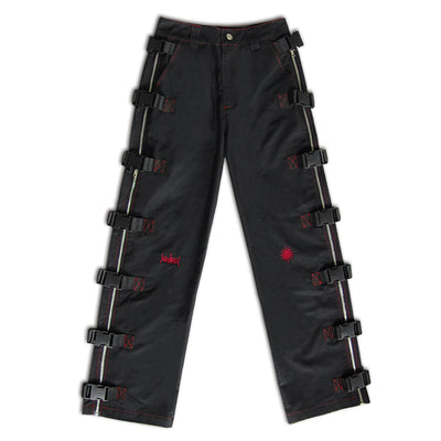 Premium quality side zipper buckle structure straight fit Girl pants